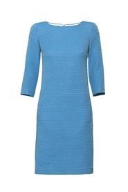 Sukienka niebieski żakard klasyczna