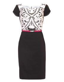 Sukienka z wzorem szaro-czarnym