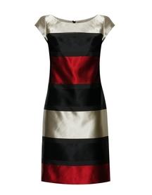 Sukienka prosta z tafty w kolorowe pasy