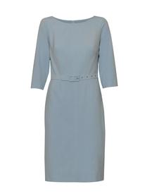Sukienka klasyczna błękitna stebnowana z paskiem