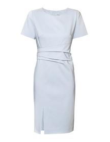Sukienka błękitna z drapowaniem