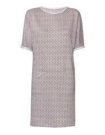 Sukienka arlekin z poziomymi kieszeniami
