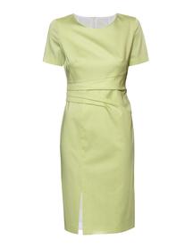 Sukienka w kolorze jasnej limonki z drapowaniem