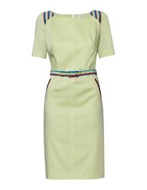 Sukienka  limonkowo-cytrynowa  z dodatkami w róznokolorowe paseczki