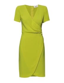 Sukienka zakładana z dołem kopertowym -limonkowa
