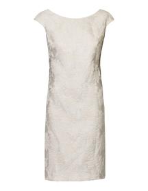 Sukienka klasyczna z żakardu jasno-  beżowego
