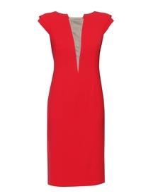 Sukienka czerwono-malinowa z dekoltem V  z siatki