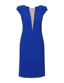 Sukienka kobaltowa z dekoltem V  z siatki
