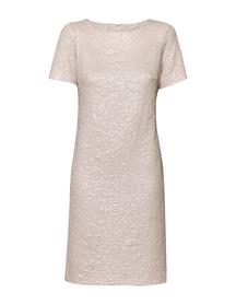 Sukienka klasyczna prosta z dzianiny wizytowej  perłowy róz.