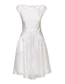Sukienka z szerokim dołem z lekkiego batystu w bladoróżowe grochy.