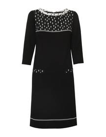 Sukienka z dzianiny z kaczkiem czarno-białym
