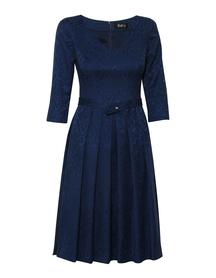 Sukienka szeroka w zakładki jasny granat