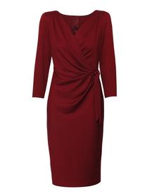 Sukienka kopertowa z wiazaniem na boku w kolorze bordo
