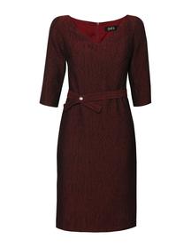 Sukienka wizytowa z tkaniny strukturalnej bordowej