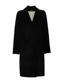 Czarny płaszcz z mieszanki  wysokiej jakości wełny -prosty
