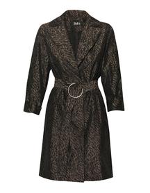 Płaszczyk z tafty -wzór panterkowy czarno beżowy
