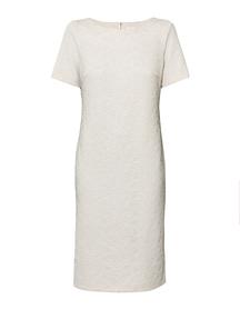 Prosta sukienka w kolorze bezowym przyprószonym brokatem