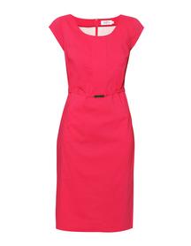 Bawełniana sukienka z listwą w kolorze nasyconego różu