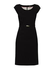 Bawełniana sukienka z listwą -czarna