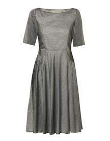Powiewna sukienka z batystu w kolorze szarego melanżu.