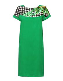 Zielona sukienka z wiskozy  z efektownym karczkiem z jedwabiu.