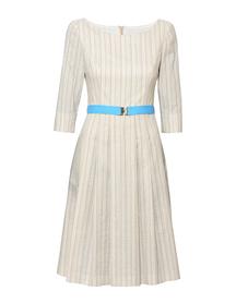 Szeroka bawełniana sukienka w delikatne paseczki