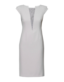 Sukienka z dekoltem V jasno szara