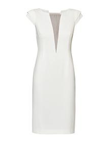 Sukienka ecru z dekoltem V  z siatki