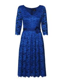 Wizytowa sukienka z koronki w kolorze szafirowym