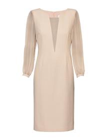 Rózowa sukienka prosta z dodatkami z jedwabiu.