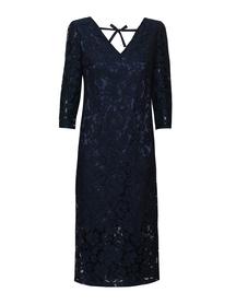 Sukienka z granatowej koronki z prześwitującym dołem