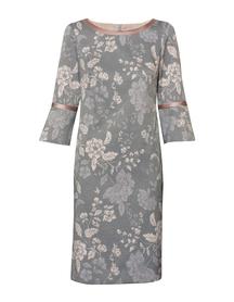 Sukienka  szaro-rózowa z rękawem lekko rozszerzonym