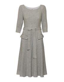 Szeroka sukienka z mieszanki wełny i wiskozy z  kieszeniami