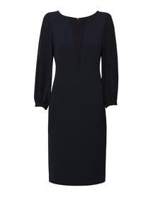 Granatowa sukienka z dwóch tkanin wiskozowych.