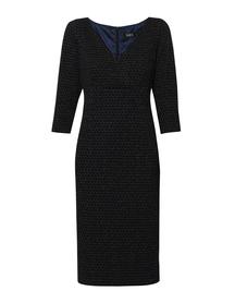 Sukienka ze strukturalnej tkaniny z wplecioną brokatową nitką