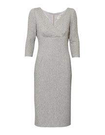 Sukienka szara ze strukturalnej tkaniny ze srebrną nitką