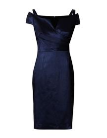Sukienka z elastycznej  tafty z seksownym dekoltem -  granatowa