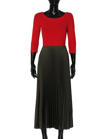 Spódnica plisowana khaki (3)
