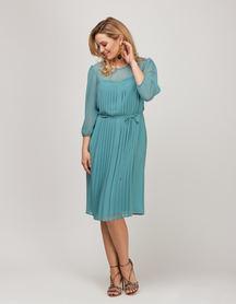 Sukienka z szyfonu z plisami z przodu- miętowa
