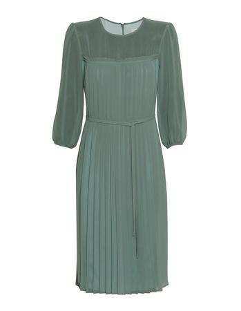 Sukienka z szyfonu z plisami z przodu- miętowa (3)