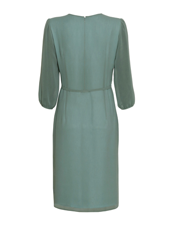 Sukienka z szyfonu z plisami z przodu- miętowa (4)