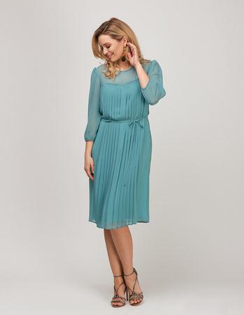 Sukienka z szyfonu z plisami z przodu- miętowa (1)
