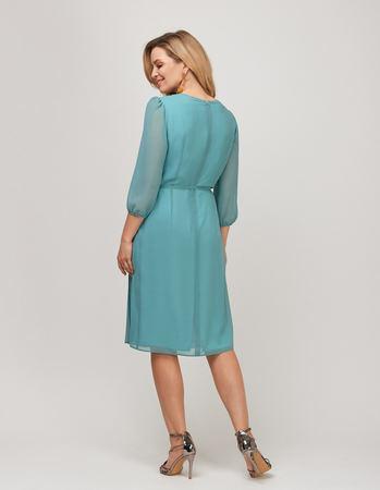 Sukienka z szyfonu z plisami z przodu- miętowa (2)