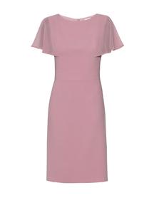 Wizytowa sukienka z ciekawymi  rękawkami z szyfonu- pudrowy róz