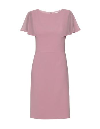 Wizytowa sukienka z ciekawymi  rękawkami z szyfonu- pudrowy róz (4)