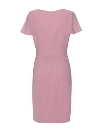 Wizytowa sukienka z ciekawymi  rękawkami z szyfonu- pudrowy róz (5)