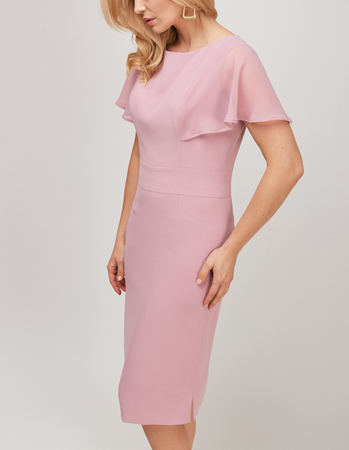 Wizytowa sukienka z ciekawymi  rękawkami z szyfonu- pudrowy róz (1)