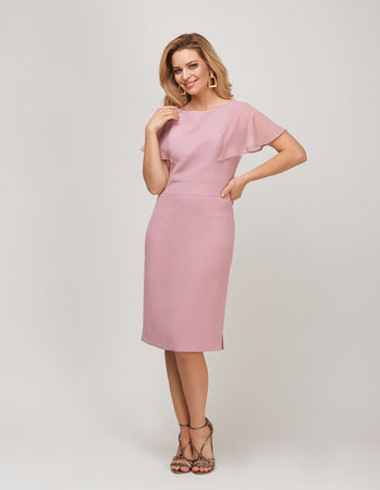 Wizytowa sukienka z ciekawymi  rękawkami z szyfonu- pudrowy róz (3)