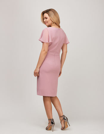 Wizytowa sukienka z ciekawymi  rękawkami z szyfonu- pudrowy róz (2)