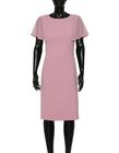 Wizytowa sukienka z ciekawymi  rękawkami z szyfonu- pudrowy róz (6)